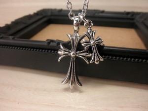 ネックレス メンズ 十字架  クロス シルバー メール便送料無料 きれいめ  ロック V系 アメカジ Rock  M-3542