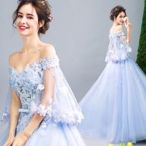 cee2c653c8441 最新作 カラードレス ウェディングドレス ロングドレス パーティドレス 5分袖 オフショルダー 結婚