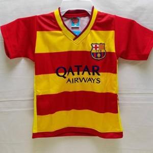 72488ef1da6785 子供用 K134 バルセロナ NEYMAR JR*11 ネイマール 横黄赤 ゲームシャツ パンツ付