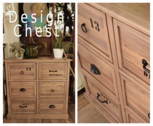 DesignChest デザインチェスト ジャボン 9D (天然木,収納家具,取手,遊び心,幅120cm,カントリー,ユニーク,個性的,カフェ,3段)