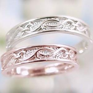ダイヤモンド ピンクゴールド ホワイトゴールド ペアリング マリッジリング 結婚指輪 ペア 2本セット ダイヤ 0.01ct K10 指輪
