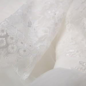 ドレス 二次会  花嫁 ミモレ丈ドレス  編み上げタイプ 長袖  ウエディングドレス  パーティードレス・結婚式・二次会