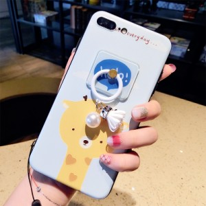 iPhone7/iPhone7Plus/iPhone6s/iPhone6 Plusケースかわいい アルパカ柄リングネックストラップ付スマホケースアイフォン6sプラスMK30052