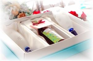名入れ【プチミニワイン&スノーペアグラス】クリスマスプレゼント