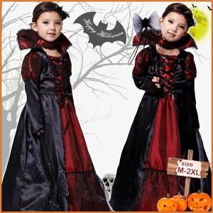 送料無料ハロウィンコスプレ衣装 バンパイア・悪魔・吸血鬼・ゾンビ Halloween子供・キッズ女の子 仮装  ワンピース ドレス