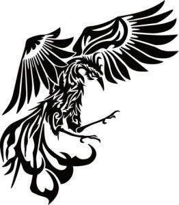 カッティングステッカー 〜 鳳凰 不死鳥 フェニックス phoenix トライバル (右向き) 〜 車 バイク カッコイイ オシャレ カスタム カー
