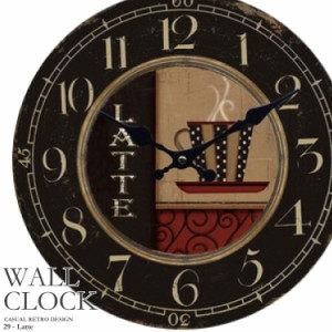 幅34cm 壁掛け時計 カフェラテ レトロ調 アンティークデザイン ウォールクロック 丸型 カジュアル カフェ風 昭和レトロ コーヒーカップ