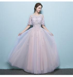 透かし彫り ロングドレス演奏会 結婚式 ドレス ウェディングドレス パーティドレス お呼ばれ ピアノ 発表