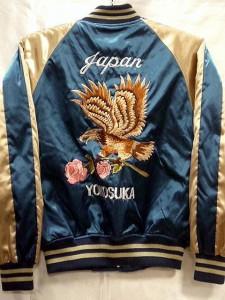 スカジャン 鷹に薔薇 日本製本格刺繍のスカジャン