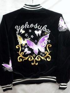 スカジャン 蝶 別珍 日本製本格刺繍のスカジャン