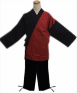 作務衣 さむえ メンズ 男物 男性 エンジ黒 M L LL 3L 綿100% ユニフォーム 和装 大きいサイズ 簡単 粋