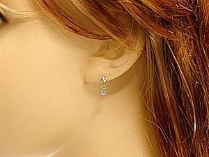 ピアス ブルートパーズピアス ダイヤモンドピアス ホワイトゴールドk18ダイヤモンド 0.08ct 18金 天然石 ダイヤ レディース 宝石 女性