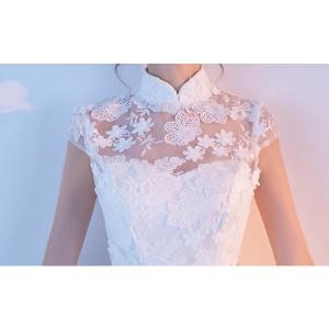 c3097a0a0e5f4 ドレス パーティードレス ホワイト レース 二次会 結婚式 司会者 舞台衣装 花嫁 お呼ばれ ミニ丈 ハイネック