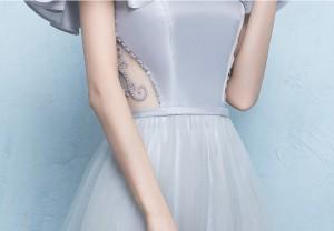 grayワンピ イブニングドレス パーティードレス フォーマルブライズメイドドレス結婚式二次会卒業式 着痩せ オフショルダー 20代30代
