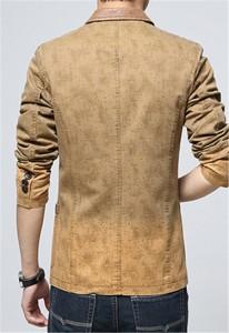 デニムジャケット テーラードジャケット メンズ スーツ地 スリム 2釦 切替 ヴィンテージ加工