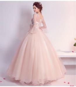 超可愛い カラードレス ウェディングドレス ロングドレス パーティドレス 7分袖 ピンク 結婚式 二次会 発表会 演奏会 写真 H067|au  Wowma!(ワウマ)