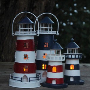 【ランタン】 翌日出荷  インテリア LEDライトハウス L ネイビー マリン雑貨 リゾート雑貨 灯台 ナチュラル 灯り