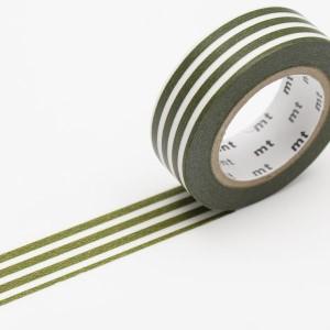 マスキングテープ ボーダー・オリーブ 15mm×10m/MT01D389【カモ井】マステ/mt/メール便OK