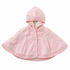 26d5b4bb02ad3 ベビー服 赤ちゃん 服 ベビー アウター 女の子 60 70 80 90 防寒 ニットボアフード付きマント