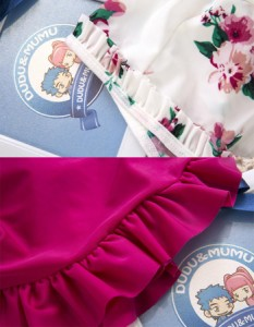 子供 女の子 ビキニセット 水着上下+帽子 3点セット 水着セット 花柄 フリル 水泳帽付き キッズ  可愛い スカート スイムウェア