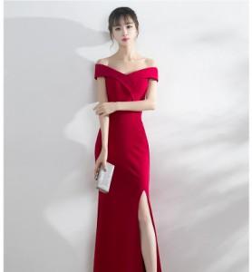 9e9b7bd550705 ロングドレス 演奏会 発表会 イブニングドレス ピアノ オフショルダ― 大きいサイズ 黒 ブラック 赤 レッド ネイビー ワインレッドの通販はWowma !