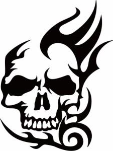 カッティングステッカー 〜 死神 スカル ドクロ トライバル ・5 〜 車 バイク ヘルメット カッコイイ ワンポイント 目立つ カスタム