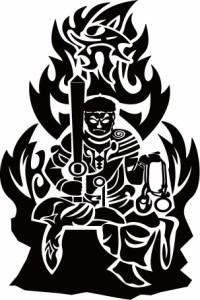カッティングステッカー 〜 不動明王 トライバル 干支梵字 (酉/とり) 梵字 カーン  〜 車 バイク カッコイイ 和風 クール カスタム