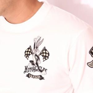 VANSON ルーニー・テューンズ コラボ バッグスバニー バイク 半袖Tシャツ 刺繍(LTV-709)【送料無料】バンソン LOONEY TUNES ワッペン