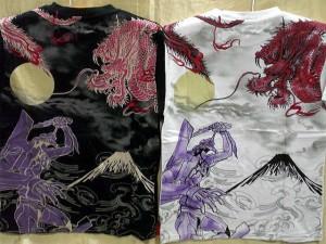 エヴァンゲリヲン X錦コラボ半袖Tシャツ 初号機X龍