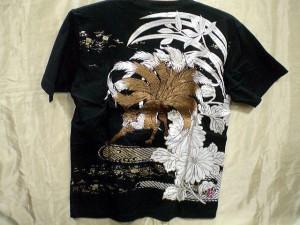 カラクリ魂  和柄 半袖Tシャツ 九尾の狐刺繍 KARAKURI