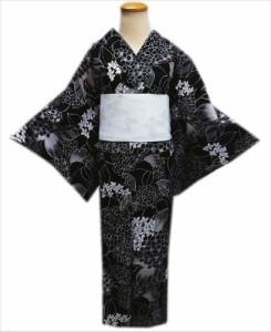 夏粋吸水速乾浴衣&結び帯(付け帯作り帯)2点セット黒色地紫陽花フリー