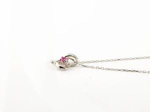 ネックレス ダイヤモンド オープンハート ルビー ホワイトゴールドk10 7月誕生石 チェーン k10 10金 人気 ダイヤ