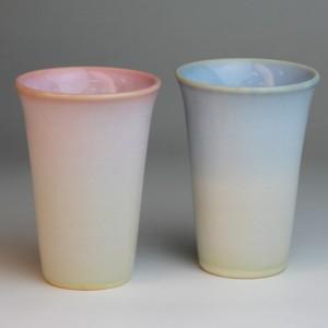 萩焼 陶器 つぼみ ペアカップ タンブラー ビールグラス ペアセット 日本製 / おしゃれ ペアフリーカップ 結婚祝い