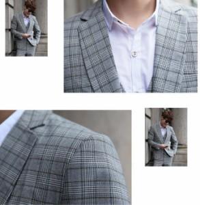 チェック柄 スタイリッシュ メンズ フォーマル 3ピーススーツ 結婚式 花婿の介添え人OL通勤 ジャケット+ベスト+パンツ/大きいサイズ