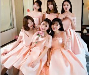 ミニ pink 6デザイン 膝丈 ブライズメイドドレス/フォーマル パーティードレス 司会 結婚式  二次会 ワンピース 卒業式 花嫁の介添え