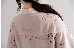 袖フリル リボン かわいい 大人 ミディアム 半袖 襟付き 袖コンシャス 花柄 トップス ブラウス シャツ 春夏秋