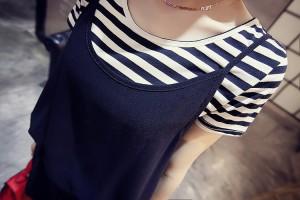 【 大きいサイズ あり】ボーダーTシャツ&サロペット♪2点セットアップ<L〜3L><TB-3-0004>