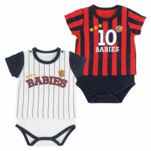 f8f66560030a2 ベビー服 赤ちゃん 服 ベビー ロンパース 男の子 お出かけ なりきりスポーツ半袖ロンパース