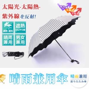 短納期 日傘 晴雨兼用 uvカット 折りたたみ傘 ストライプ ウェーブピコレース  レディース 手開き 梅雨