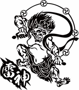 カッティングステッカー 〜 雷神 トライバル  〜 車 バイク オシャレ カッコイイ 目立つ 伝統 日本 和風 クール ジャパン カスタム