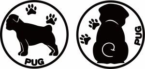 カッティングステッカー 〜 パグ  (横後1セット) 〜 車 バイク 愛犬 カワイイ 貼るだけ 手軽 カスタム カー デカール (D)