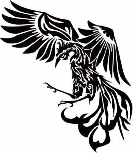 カッティングステッカー 車 バイク カッコイイ 傷隠し【鳳凰 不死鳥 フェニックス phoenix トライバル (左向き)】【メール便】