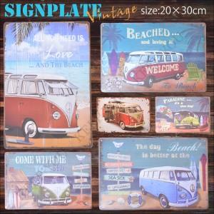 メール便 送料無料 ブリキ看板 ワーゲンバス VW レトロ 20×30cm ビンテージ メタルサインプレート カフェ バー アメリカン TIN SIGN =┃