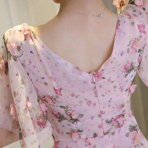三次元 花の王女ドレス Vネック シフォン スリム ワンピース