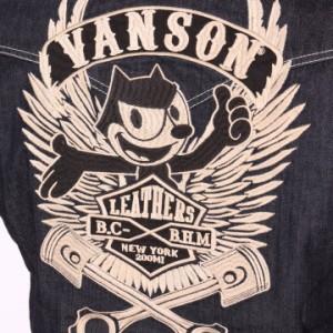 VANSON FELIX THE CAT コラボ フィリックス エンブレム 刺繍 半袖デニムシャツ(FXV-708)バンソン メンズ ヴァンソン【wow0708】