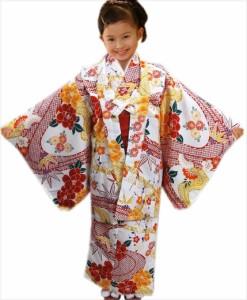 子供用キッズジュニア女の子洗える着物5点セット白色地赤色ひった流水牡丹 56歳・78歳・910歳