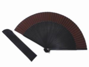 粋なメンズ男物男性シルク扇子&扇子袋セット茶色×黒 浴衣&着物に