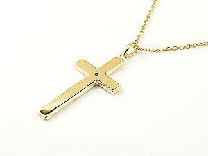 ネックレス ハワイアンジュエリー クロス ピンクトルマリン イエローゴールドk18 ペンダント 十字架 チェーン 人気 10月誕生石 18金