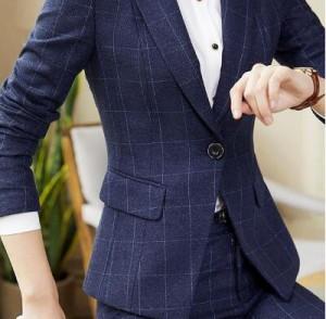 レディース パンツスーツセット事務服 ネイビー フォーマル 細身シルエットチェック柄 ビジネス 入学式 卒業式 通勤