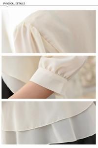 結婚式ドレスに合うシフォンボレロ七分袖カーディガンドレープフリル大きいサイズ有[F/L/2L/3L][黒/ベージュ/紺/グレー]
